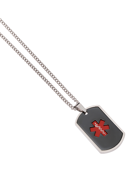 Stainless Steel Dog Tag Obsidian Red