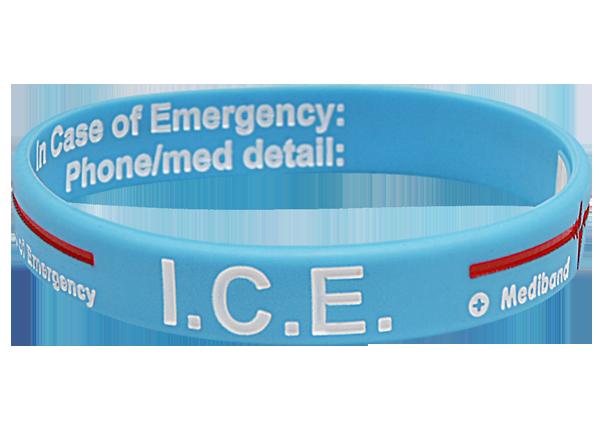 Light Blue ICE - Reversible Write On Medical ID Bracelet