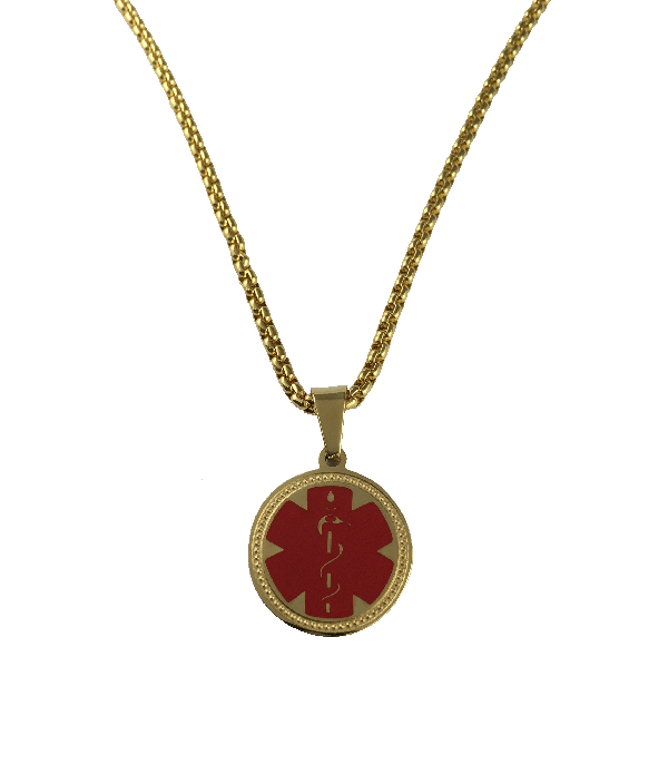 Stainless Steel Gold Round Pendant Necklace - Blank
