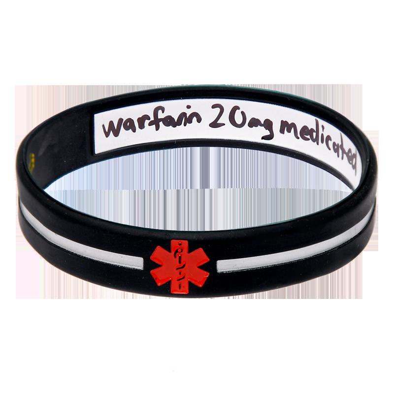 Black Cross - Reversible Write On Medical Bracelet